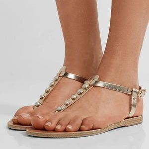 Ancient Greek Lito Pearl Trimmed Sandals 39